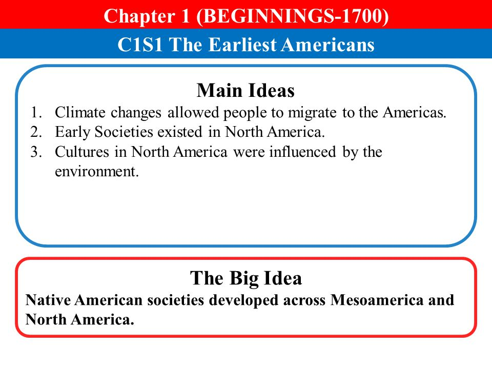 Chapter 1 (BEGINNINGS-1700) C1S1 The Earliest Americans