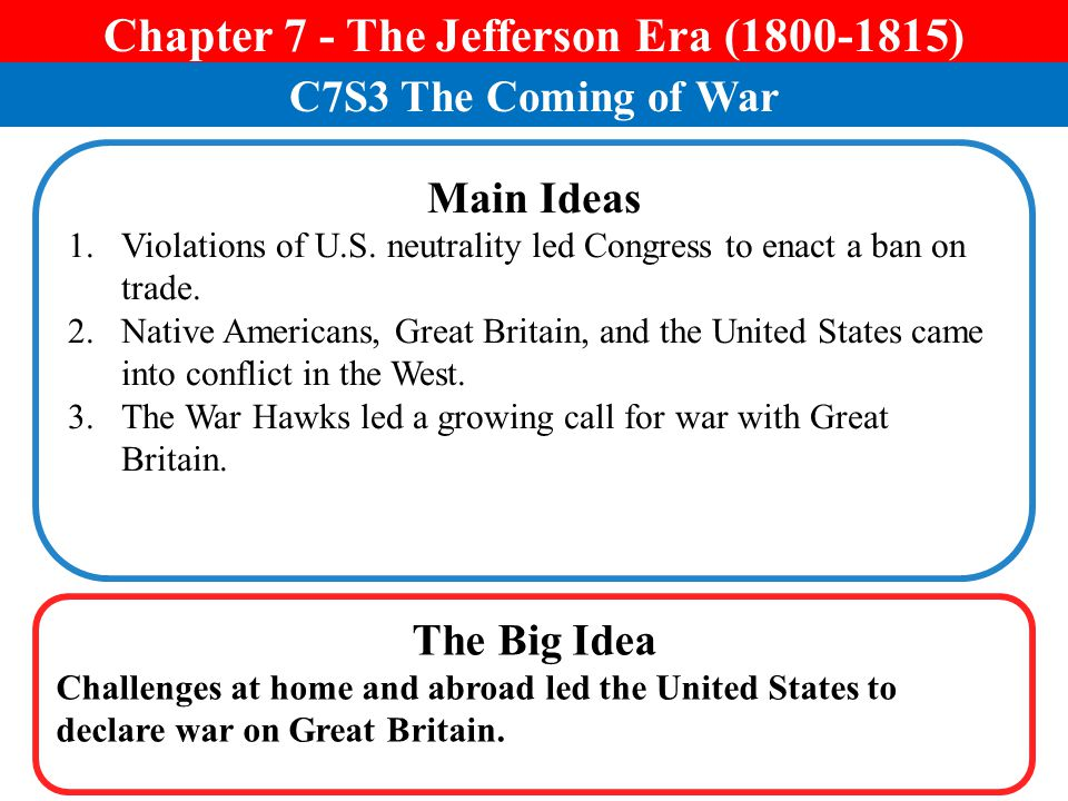 Chapter 7 - The Jefferson Era (1800-1815)