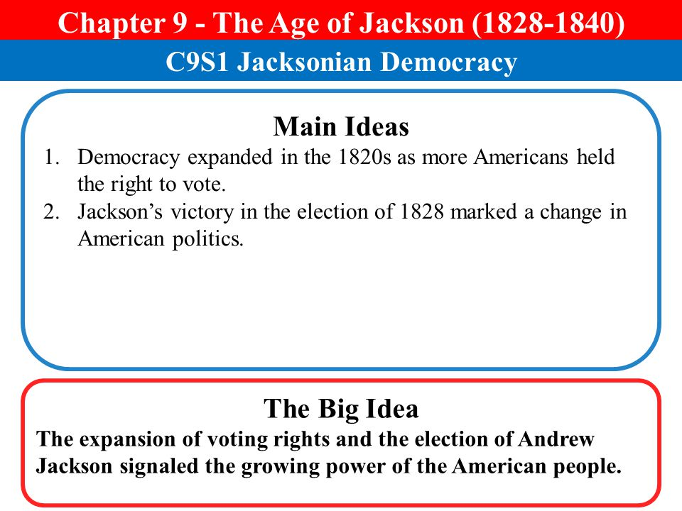 Chapter 9 - The Age of Jackson ( ) C9S1 Jacksonian Democracy