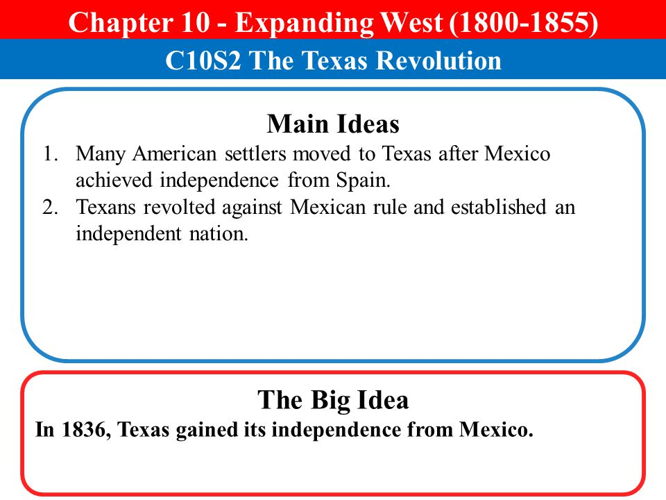 Chapter 10 - Expanding West (1800-1855) C10S2 The Texas Revolution