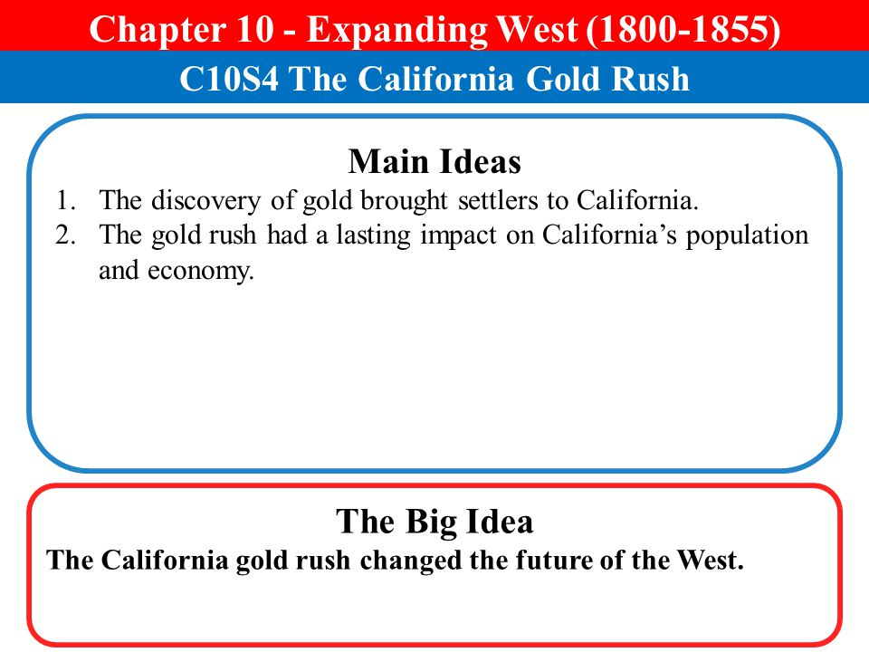 Chapter 10 - Expanding West (1800-1855) C10S4 The California Gold Rush