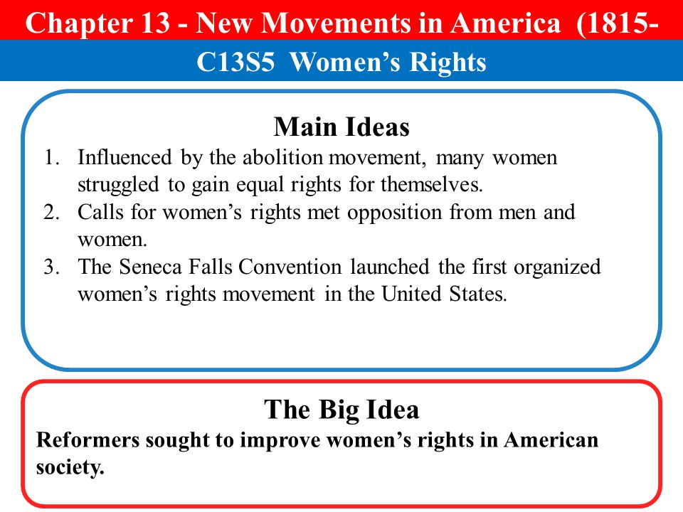 Chapter 13 - New Movements in America (1815-1850)