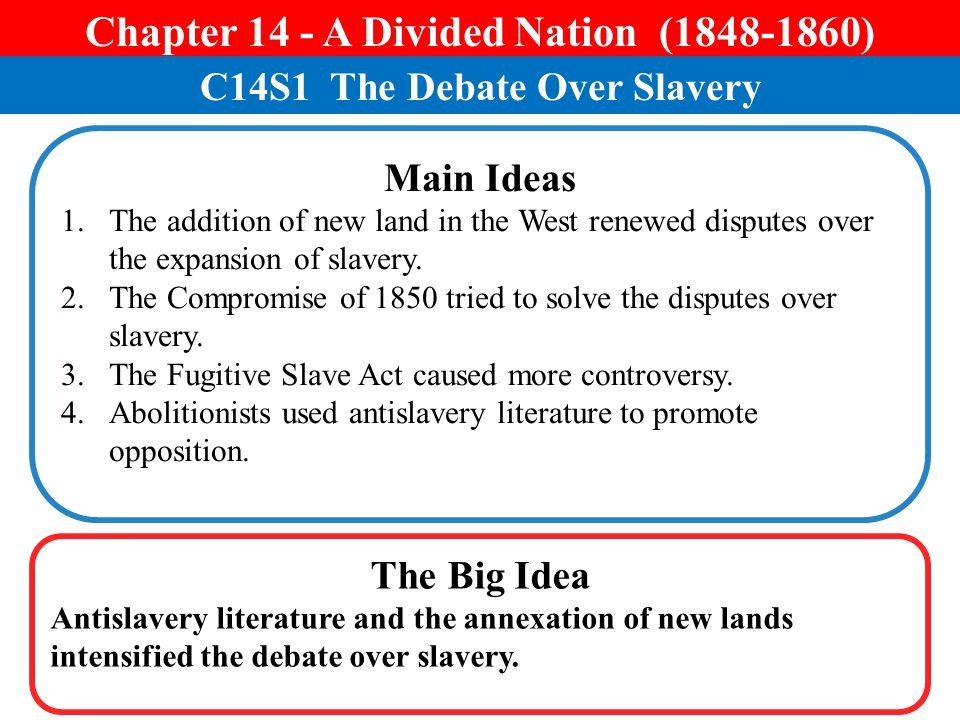 Chapter 14 - A Divided Nation (1848-1860)