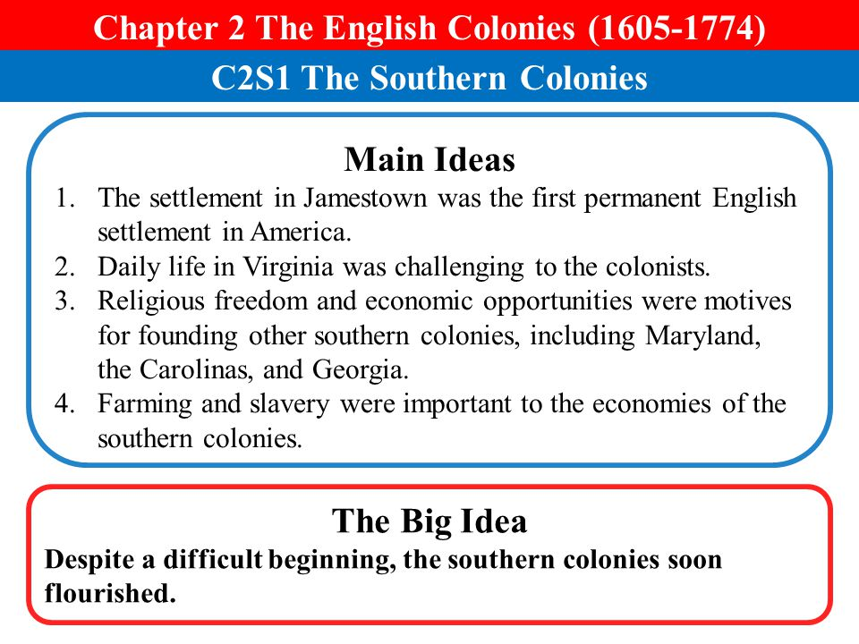 Chapter 2 The English Colonies (1605-1774) C2S1 The Southern Colonies
