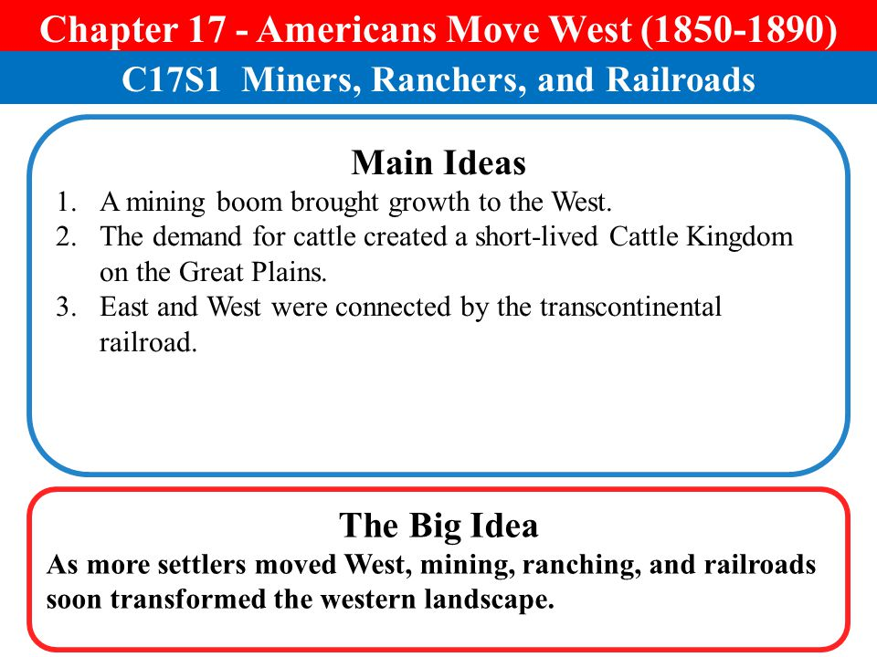 Chapter 17 - Americans Move West ( )
