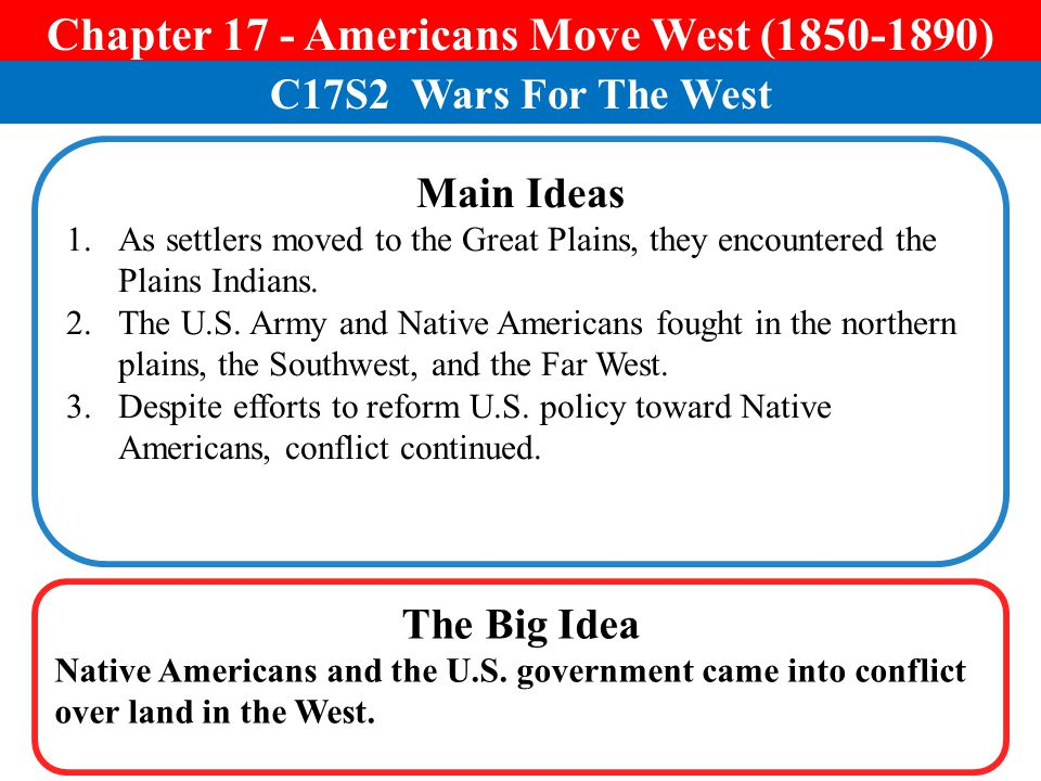 Chapter 17 - Americans Move West (1850-1890)