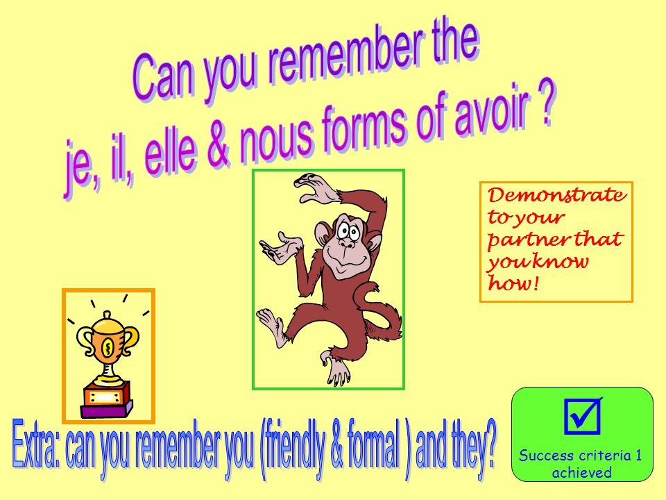  Can you remember the je, il, elle & nous forms of avoir