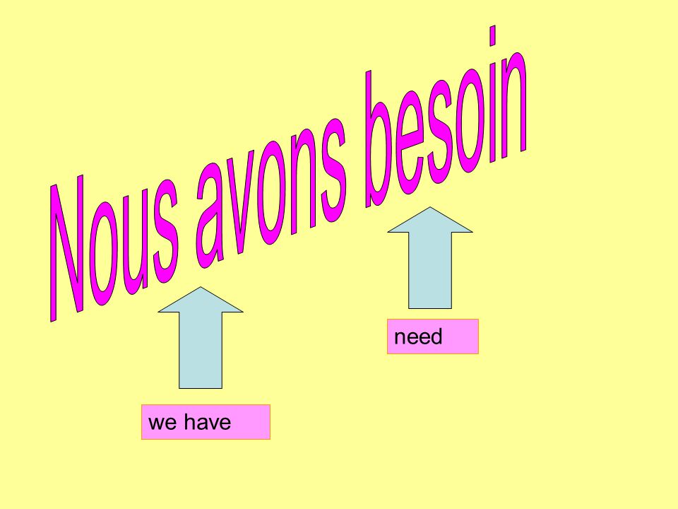 Nous avons besoin need we have