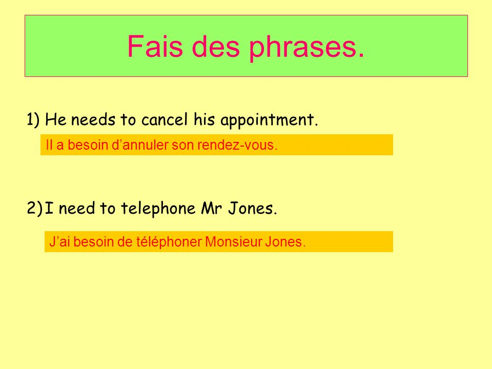 Fais des phrases. He needs to cancel his appointment.