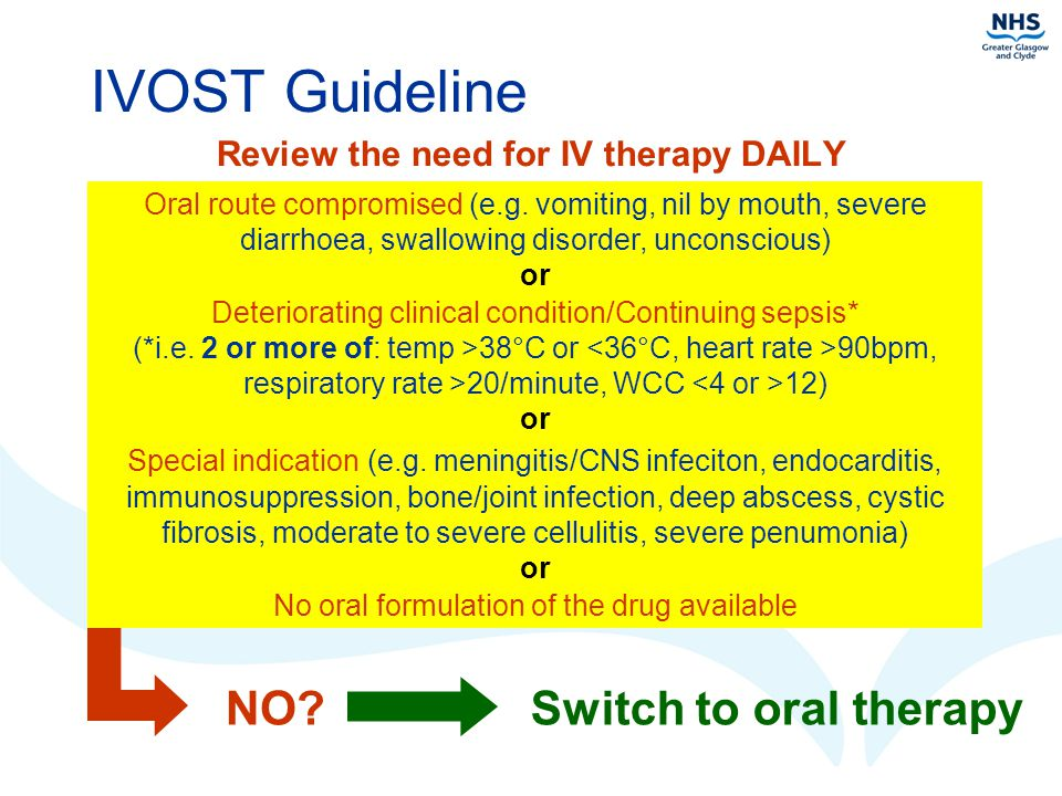 Review the need for IV therapy DAILY