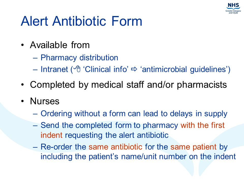 Alert Antibiotic Form Available from