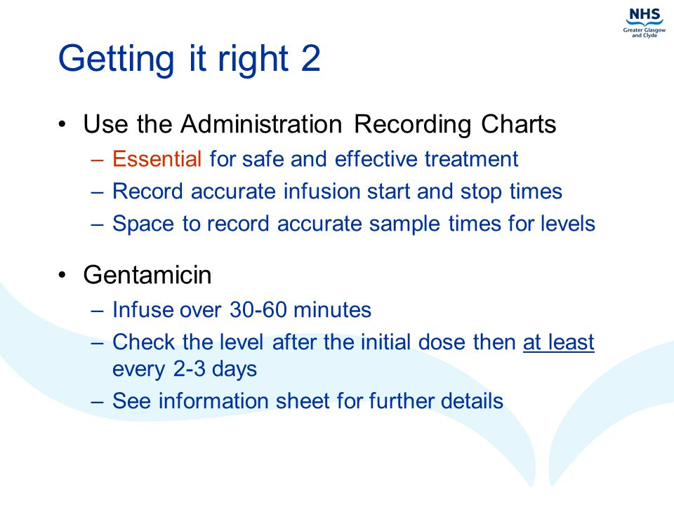 Getting it right 2 Use the Administration Recording Charts Gentamicin