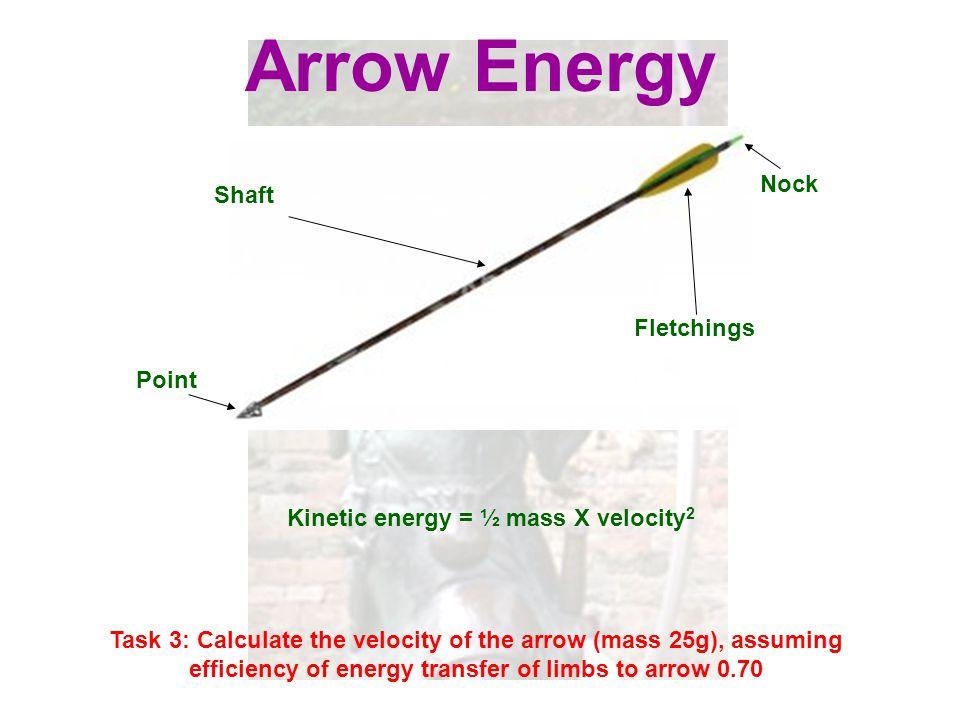 Kinetic energy = ½ mass X velocity2