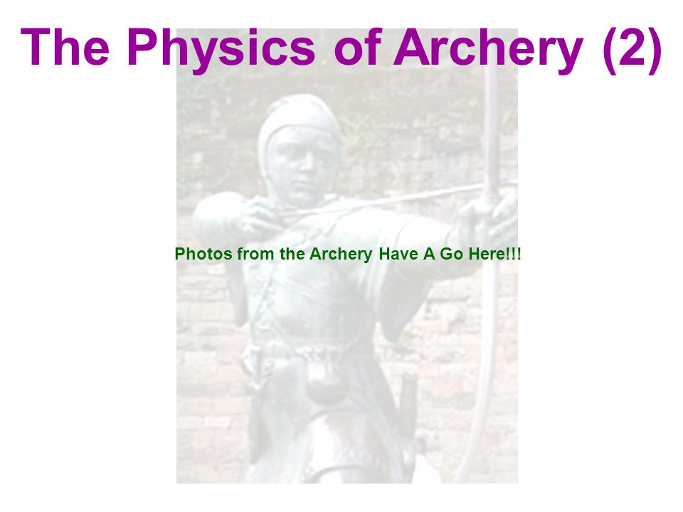 The Physics of Archery (2) Photos from the Archery Have A Go Here!!!
