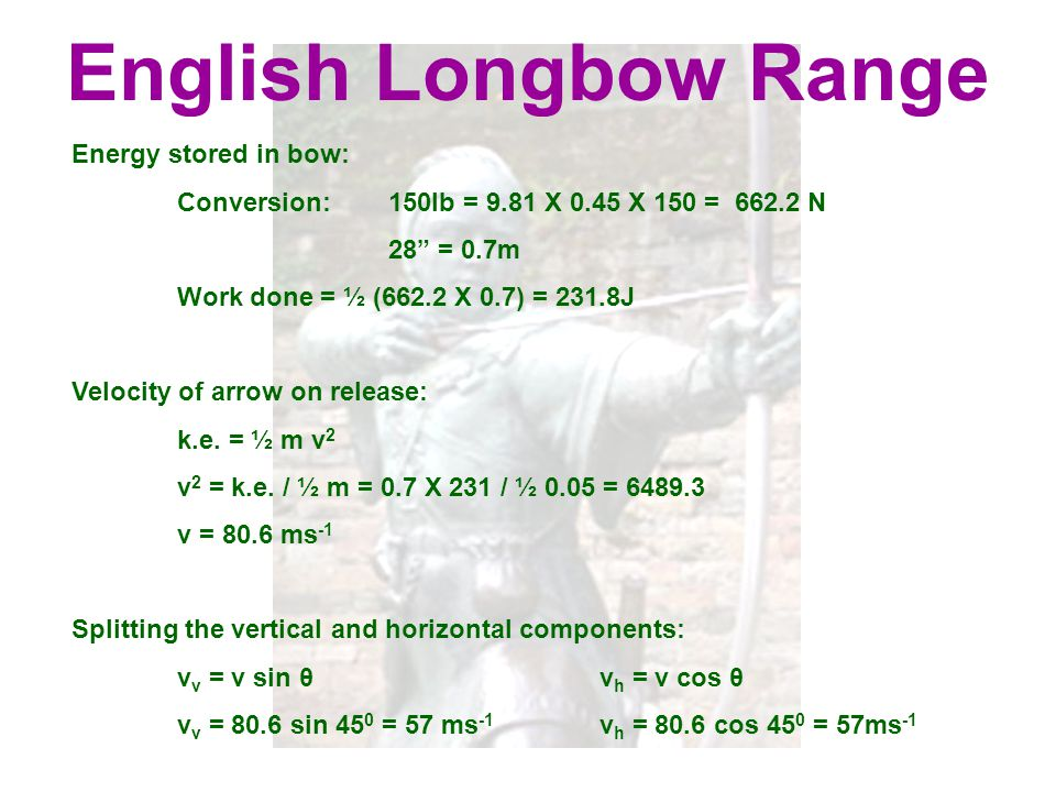 English Longbow Range Energy stored in bow:
