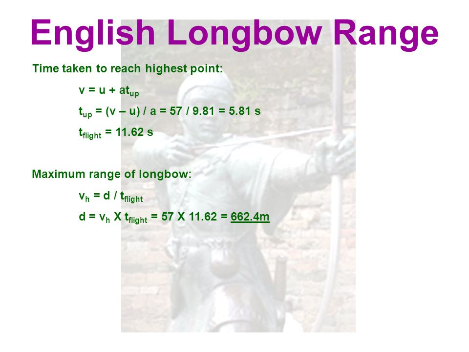 English Longbow Range Time taken to reach highest point: v = u + atup