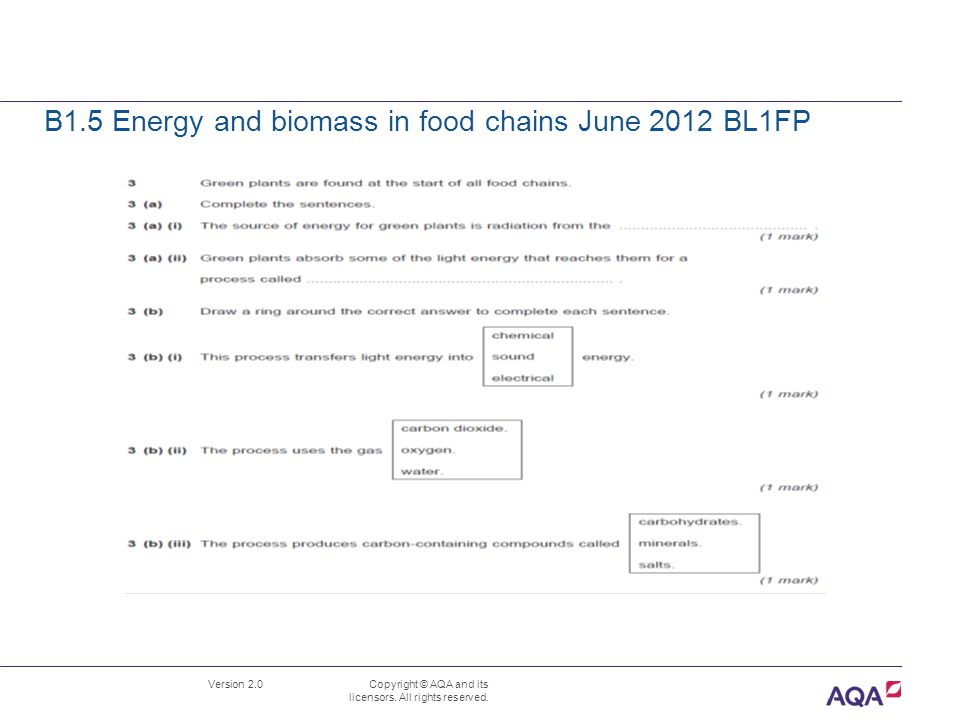 B1.5 Energy and biomass in food chains June 2012 BL1FP