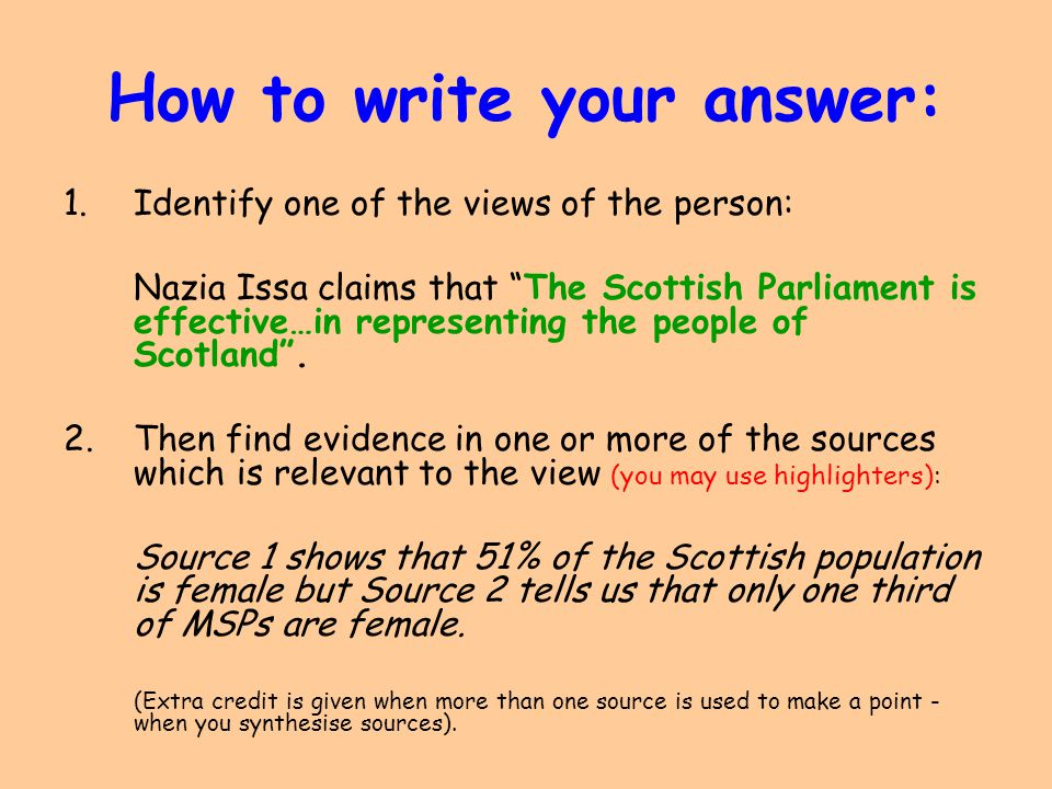 How to write your answer: