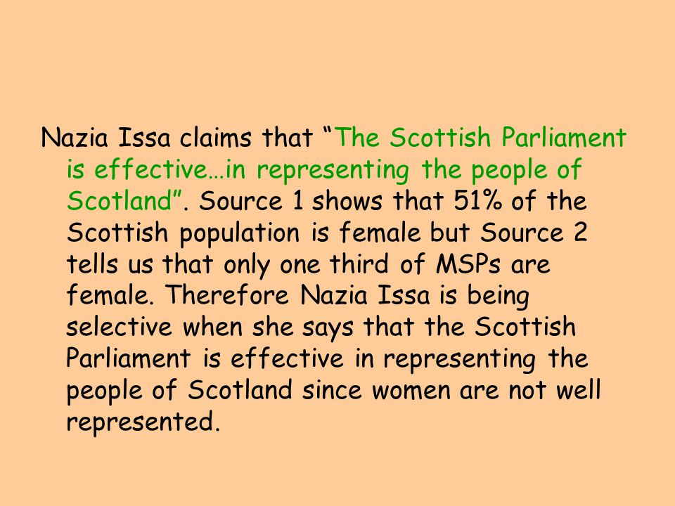 Nazia Issa claims that The Scottish Parliament is effective…in representing the people of Scotland .