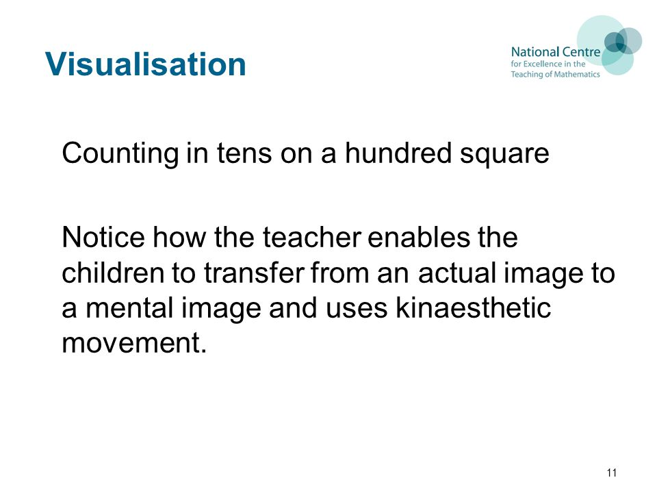 Visualisation Counting in tens on a hundred square