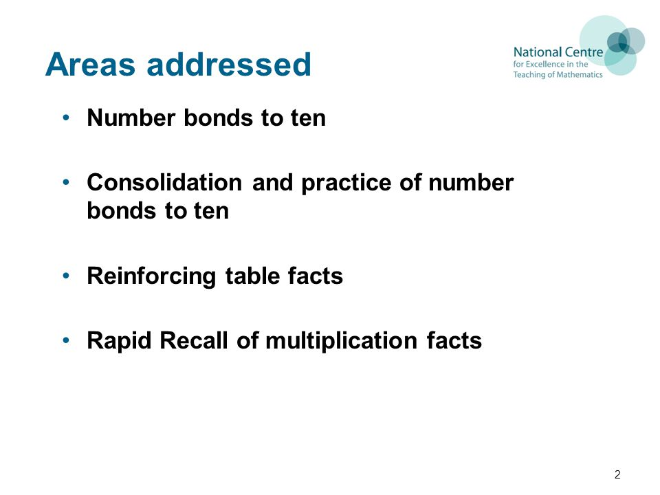 Areas addressed Number bonds to ten