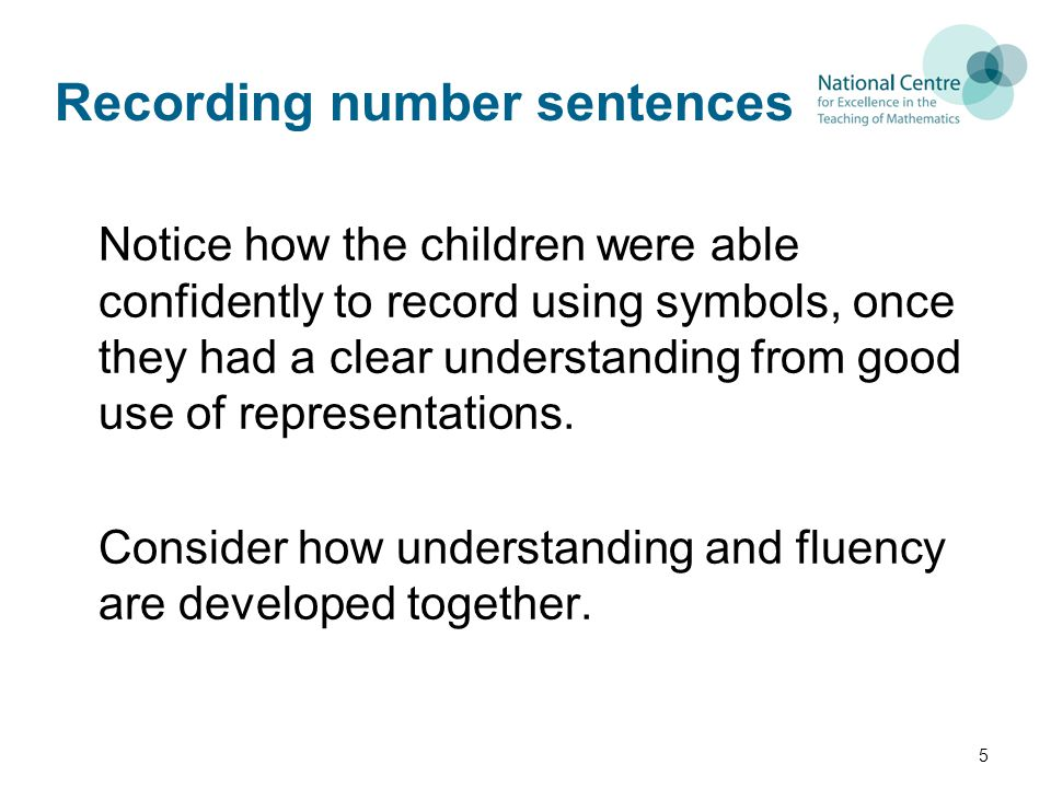 Recording number sentences