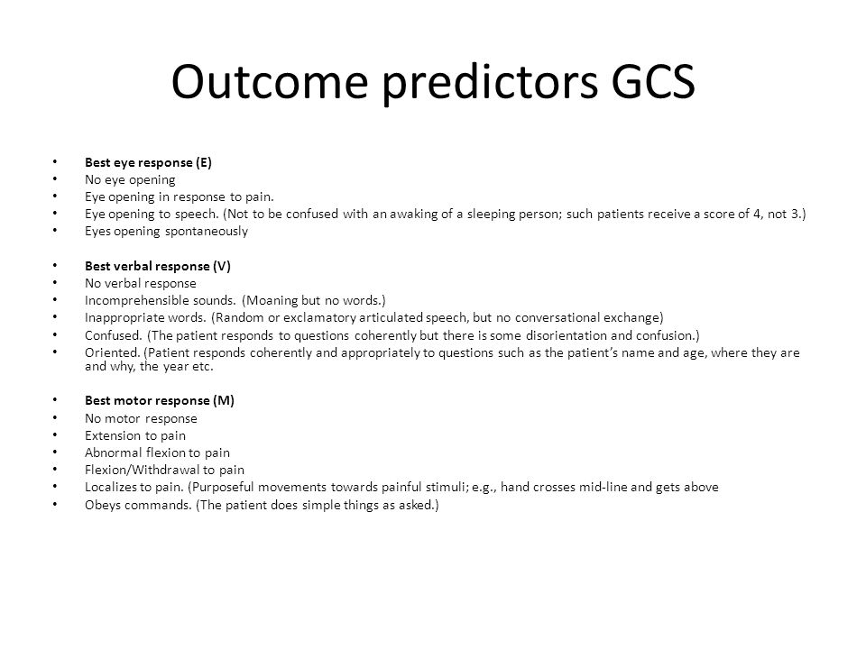 Outcome predictors GCS