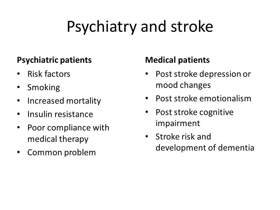 Psychiatry and stroke Psychiatric patients Medical patients