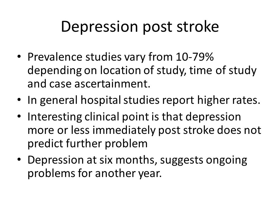 Depression post stroke
