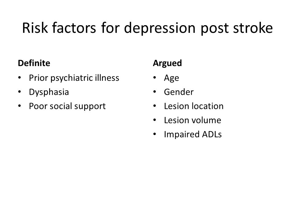 Risk factors for depression post stroke
