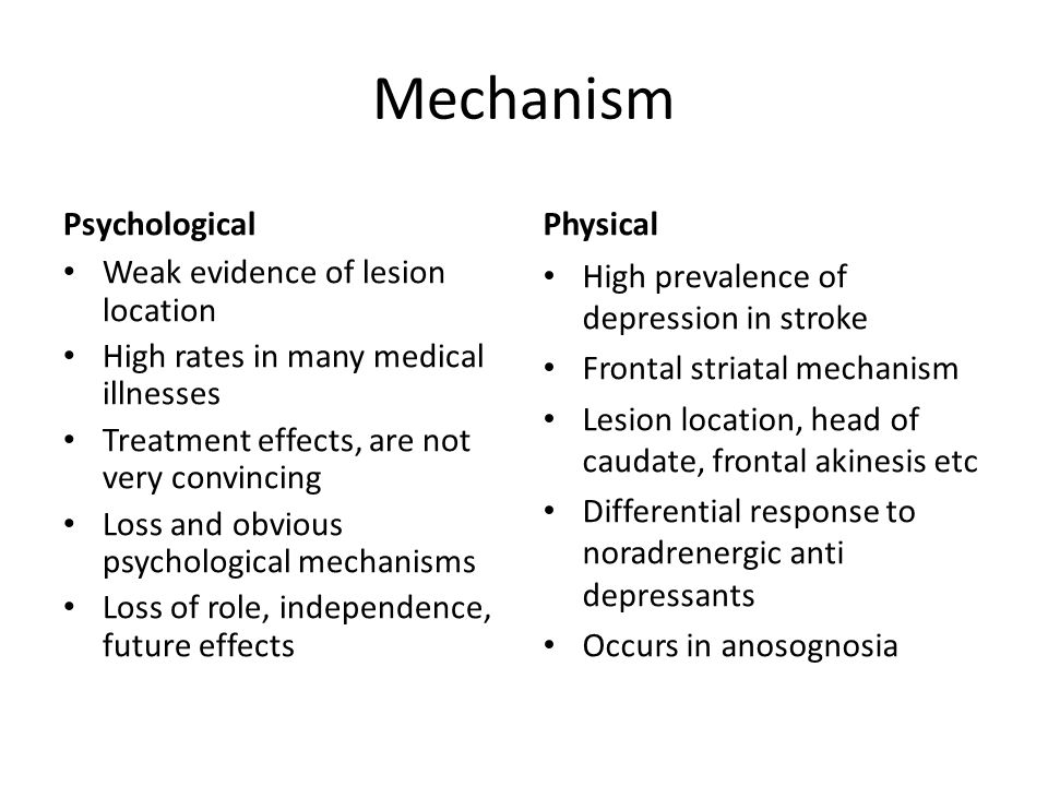 Mechanism Psychological Physical Weak evidence of lesion location