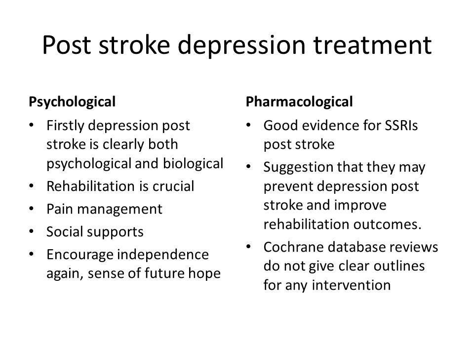 Post stroke depression treatment