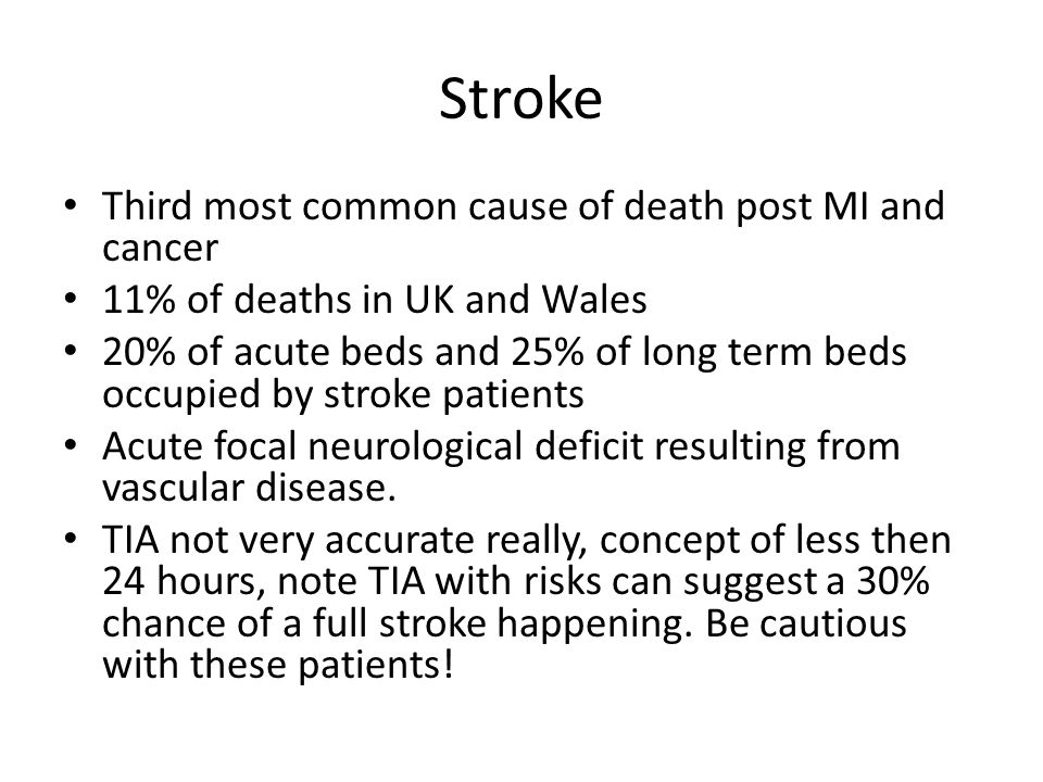 Stroke Third most common cause of death post MI and cancer