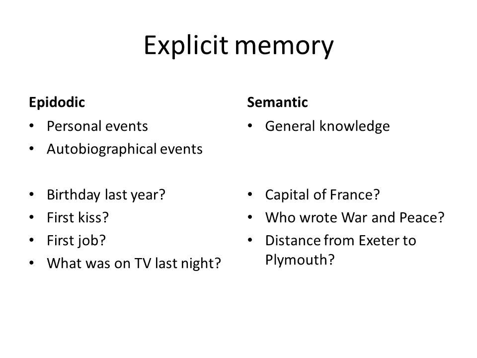Explicit memory Epidodic Semantic Personal events