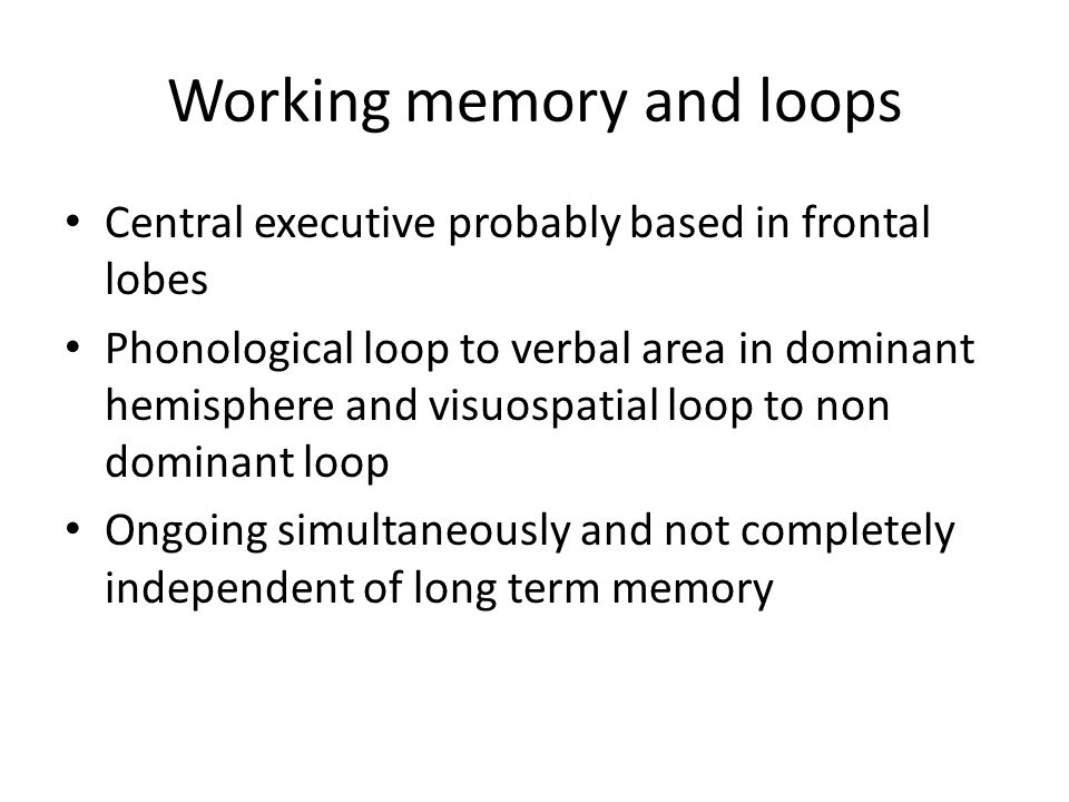 Working memory and loops