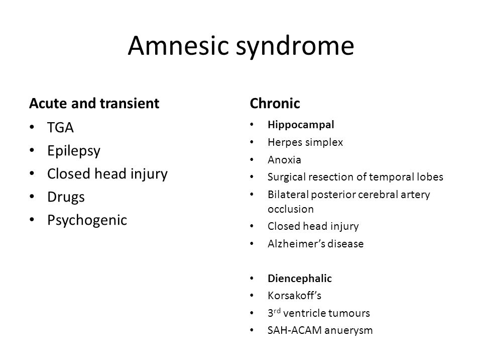 Amnesic syndrome Acute and transient Chronic TGA Epilepsy