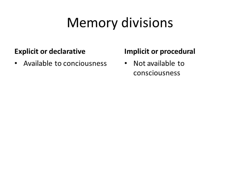 Memory divisions Explicit or declarative Implicit or procedural