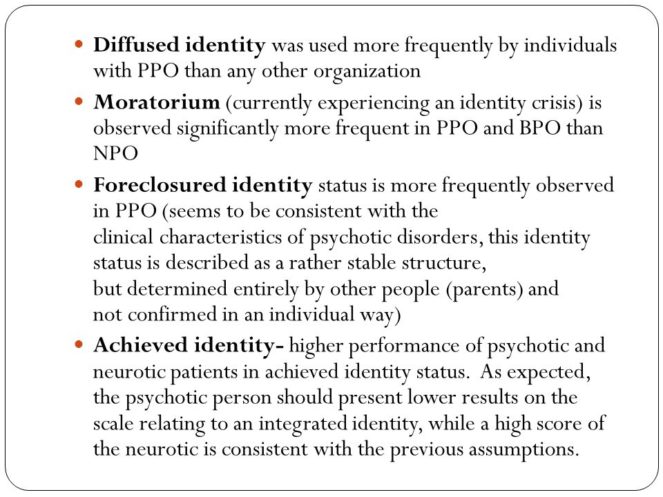 Diffused identity was used more frequently by individuals with PPO than any other organization