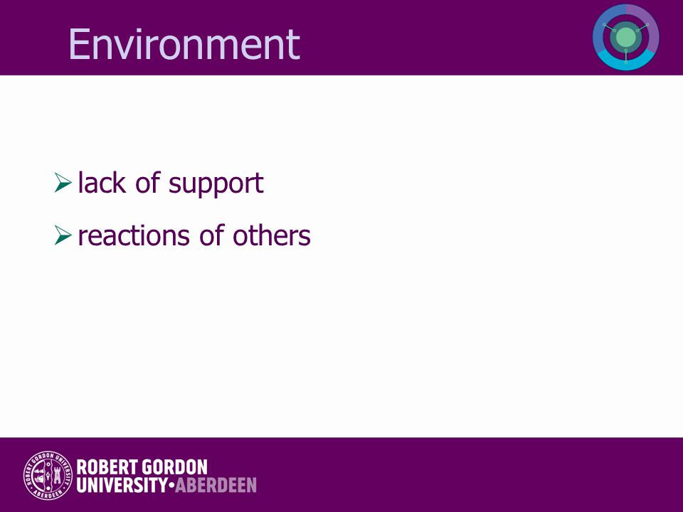 Environment lack of support reactions of others