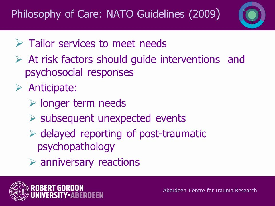 Philosophy of Care: NATO Guidelines (2009)