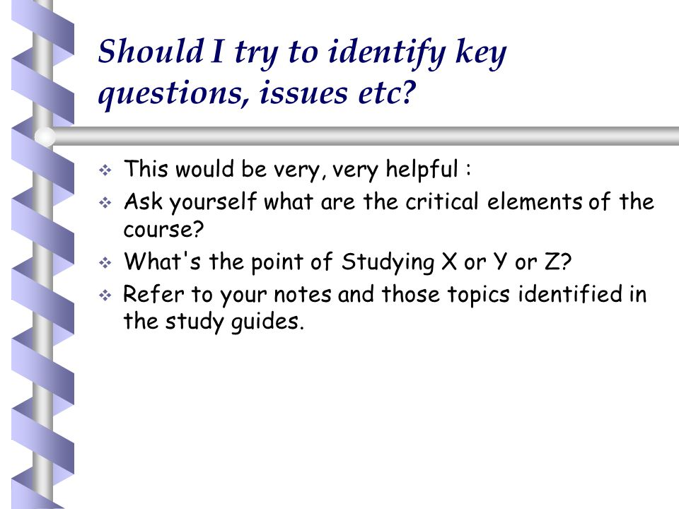Should I try to identify key questions, issues etc