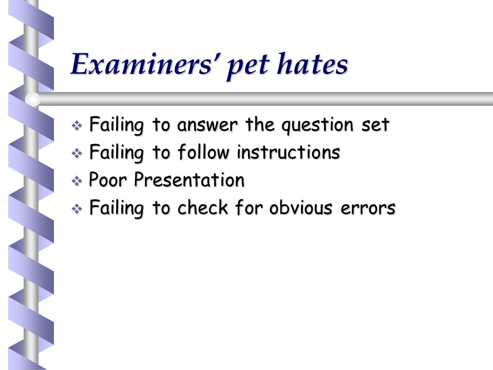 Examiners' pet hates Failing to answer the question set