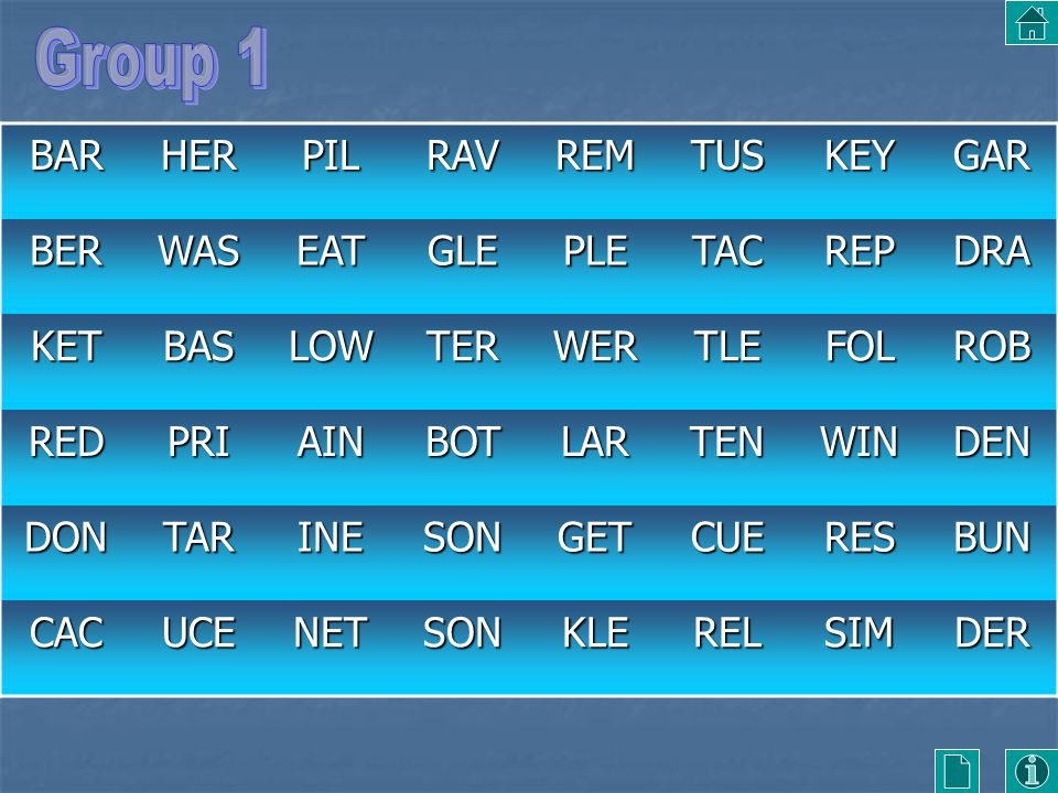 Group 1 BAR HER PIL RAV REM TUS KEY GAR BER WAS EAT GLE PLE TAC REP