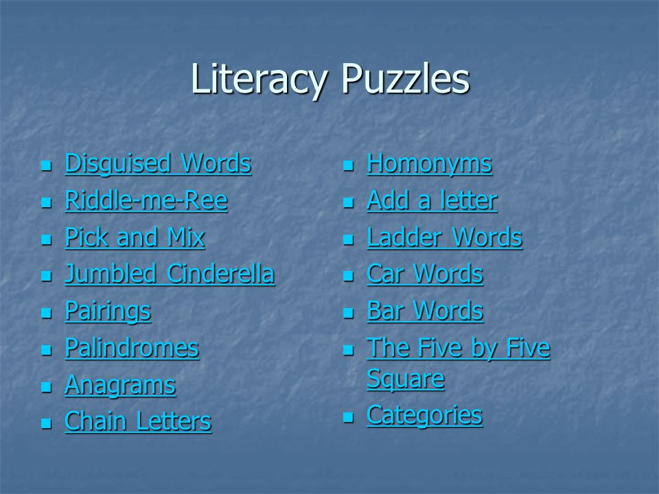 Literacy Puzzles Disguised Words Riddle-me-Ree Pick and Mix