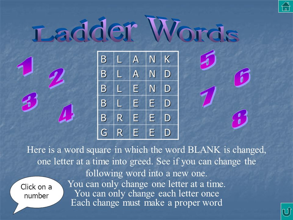 Ladder Words 5 1 2 6 7 3 4 8 B L A N K D E R G