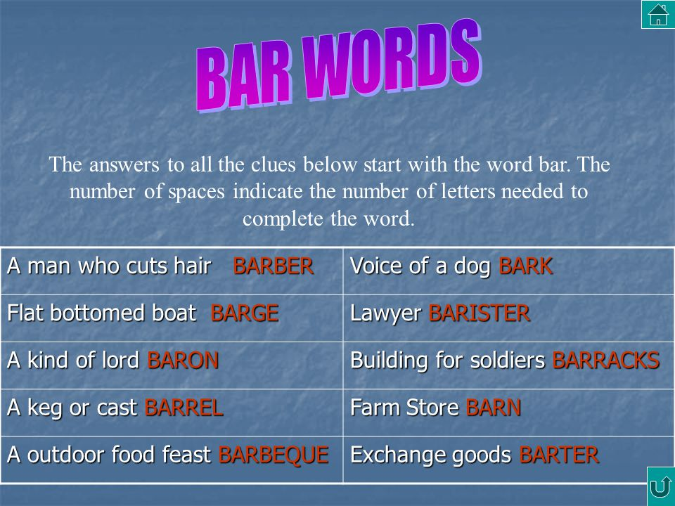 BAR WORDS
