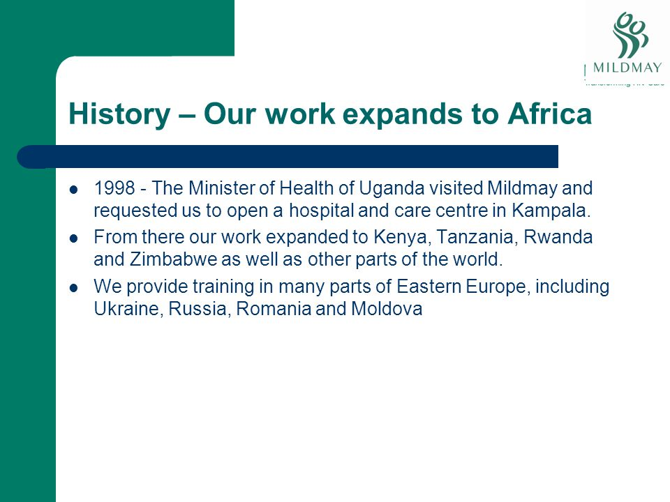 History – Our work expands to Africa