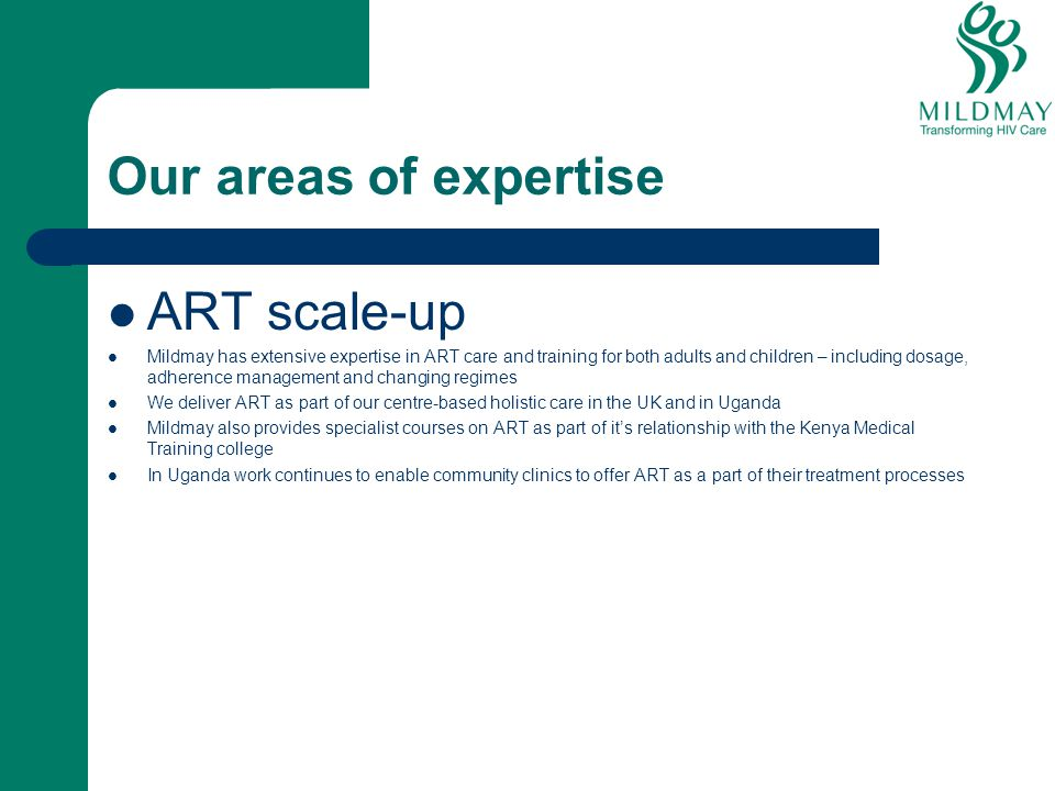 Our areas of expertise ART scale-up