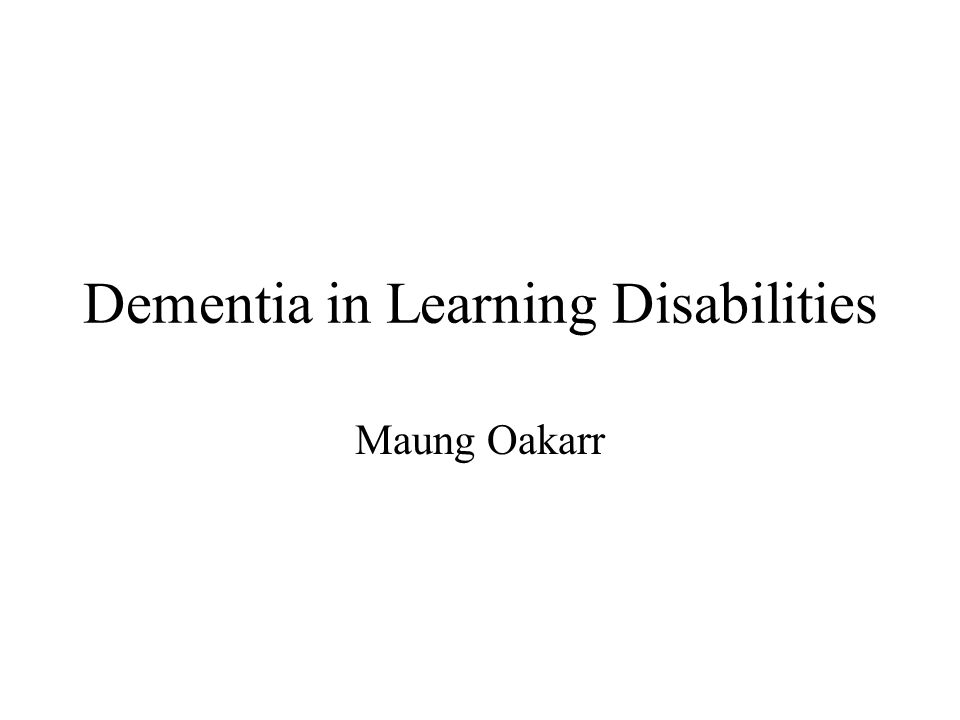 Dementia in Learning Disabilities