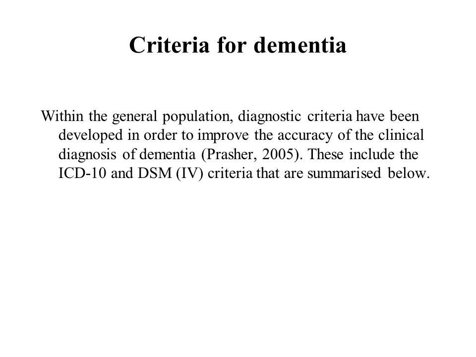 Criteria for dementia